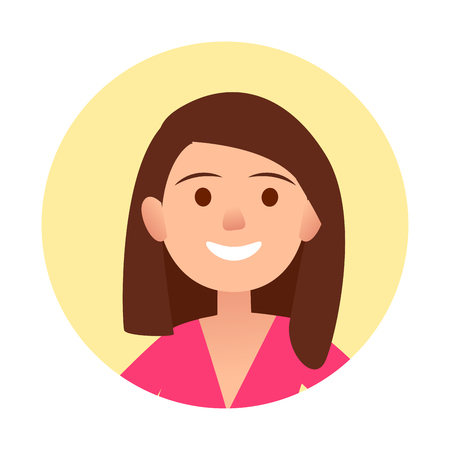 female face closeup: Portrait of brunette joyful woman in pink clothes close-up icon in yellow circle on white background vector illustration