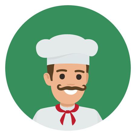 Capo-fornello sorridente moustached in toque bianco e tunica illustrazione vettoriale. Ritratto di Kitchener nel cerchio verde su sfondo bianco. Archivio Fotografico - 87470119