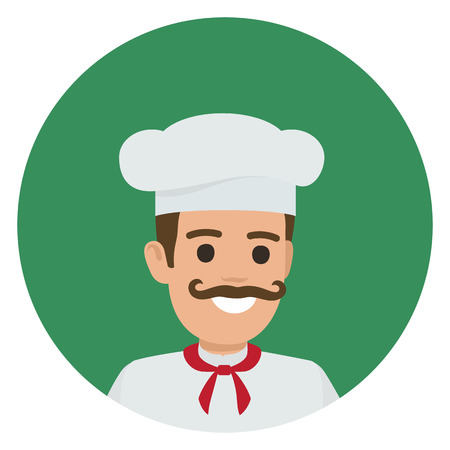 Moustached smiling chief-cooker in white toque and tunic vector illustration. Kitchener portrait in green circle on white background.