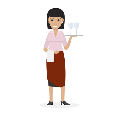 Happy waitress in red pinner keeps tray with two glasses in one arm and other with white towel vector illustration isolated