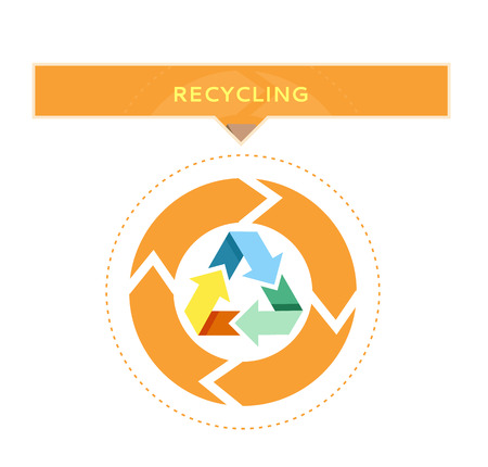 abstract recycle arrows: Recycling logo design with circle graphic of recycled waste process vector illustration on white background. Clean environment protection concept Illustration