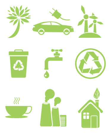 Set of icons in clean environment concept. Electrocar sign, windmill recycling sign, air pollution, saving of fresh water and stop smog symbols
