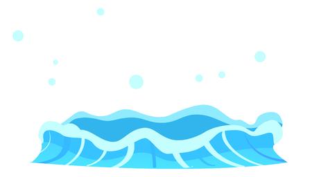 파란색 크리스탈 아쿠아의 밝아진와 수성 스트림. 화이트 절연 지구에서 물의 간헐천 흐름. 플랫 디자인 만화 스타일, 관광객을위한 명소에 온천의 벡
