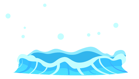 Aqueous stream with splashes of blue crystal aqua. Geyser flow of water from under earth isolated on white. Vector illustration of hot spring in flat design cartoon style, attraction for tourists Illustration