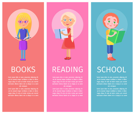 Children books, good reading and and school world book articles with vector illustrations of little children who read with interest.