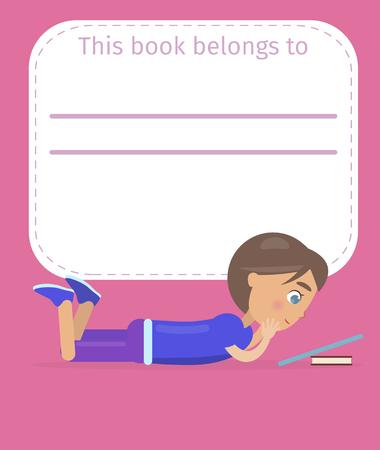 Plaats voor het teken van de eigenaarnaam en weinig jongen die liegt en leest van tablet die op boek op roze vectorillustratie wordt geleund als achtergrond.