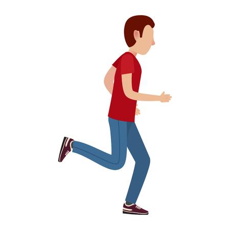 Het volwassen beeldverhaal mannelijke karakter in rode T-shirt, sportenbroeken en tennisschoenen loopt geïsoleerde vectorillustratie op witte achtergrond weg.