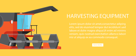 Harvesting equipment web banner with text information vector illustration. Farming machinery device for gathering cereals and seeds