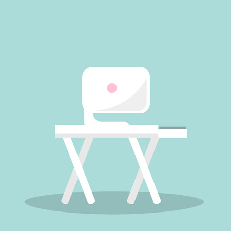 device: White monitor with pink round sign back on wood table with crossed legs. Vector illustration isolated on blue flat design of office interior object Illustration
