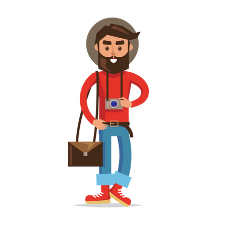 Hipster tourist with camera cartoon icon. Young man in hat, rolled up jeans, boots, bag over shoulder and photo camera on neck isolated flat vector. Lightweight traveler illustration. Modern nomad Ilustração