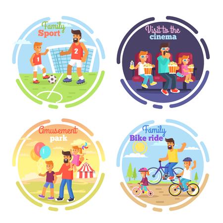 父の日」ポスターのお父さんと子供たちがサッカー、遊園地、映画館に行くにビジネス出張で自転車に乗ってください。円で毎日の家族の活動のベ