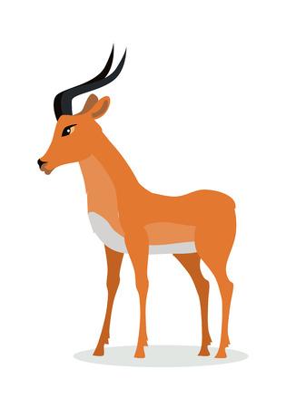 Antilopen-Impala-Zeichentrickfilm-Figur. Flacher Vektor der schönen Impala lokalisiert auf Weiß. Afrikanische Fauna. Afrikanische Antilopenikone. Illustration des wilden Tieres für Zoo-Anzeige, Naturkonzept, Kinderbuchillustrieren Standard-Bild - 87470142
