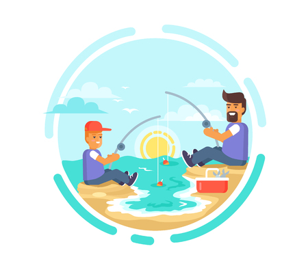 Funny fishing day poster with father and son catching fish on seaside at sunset vector illustration. Dad and his little boy spending time together Ilustração