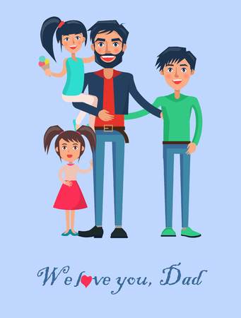 Happy Father of Many Children Vector Illustration Stock Vector - 87470150