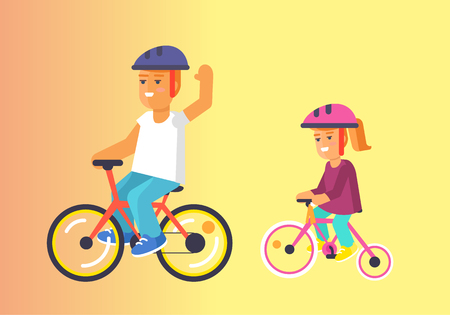 Brother and sister riding on bikes in helmets vector illustration on yellow background. Happy children spending time together Illustration