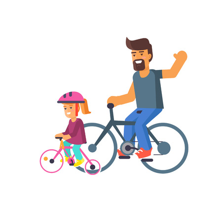 Family bike ride with dad and little daughter on bicycles vector illustration isolated on white. Fatherhood concept, celebrating holiday together Illustration