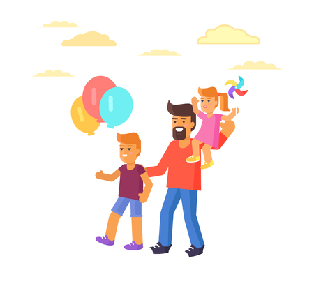 Father with son holding air balloons and daughter sitting on dads shoulders vector illustration isolated on white. Spending holidays together Illustration