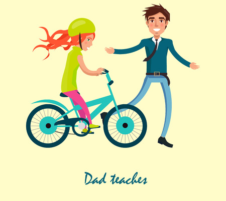 Dad teaches his daughter to ride on bicycle vector illustration isolated on white. Fatherhood concept, celebrating holiday fathers day together