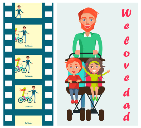 We love dad poster with father carrying kids on two seat stroller vector illustration. Careful daddy teaches his daughter to ride a bike on memory cards Ilustrace