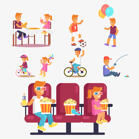 Entertaining children in cinema with popcorn, riding bikes, fishing, playing football, eating out pizza dish vector poster Ilustrace