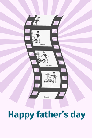 Happy Father s Day family moments on black film reel isolated on striped background. Moving picture of dad and daughter on bike Illusztráció