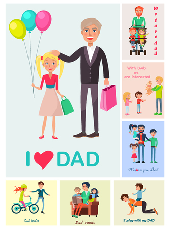 I Love Dad Poster of Daughter with Dad and Images
