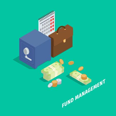 Fondsmanagement-isometrisches Vektor-Konzept Standard-Bild - 87470174