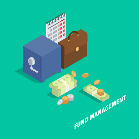 Fund Management Isometric Vector Concept Ilustrace