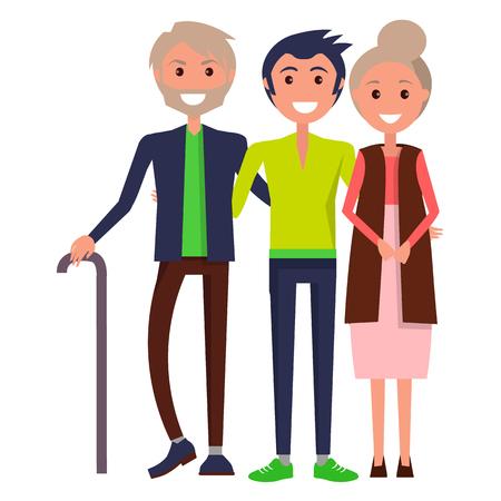 부모의 날 포스터 묘사 쾌활한 가족 일러스트