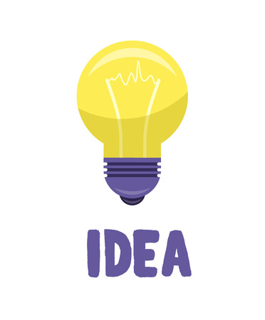 Yellow bulb isolated on white presenting idea concept. Vector illustration of lighting equipment with meaning of new thought Ilustração