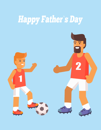 Happy Fathers Day Poster with Son and Dad