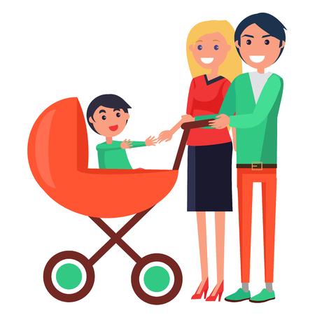 Eltern-Tagesplakat, das Familie mit jungem Kind darstellt Standard-Bild - 87470177