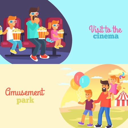 Visit to Cinema and Park with Father Poster Vector Ilustração