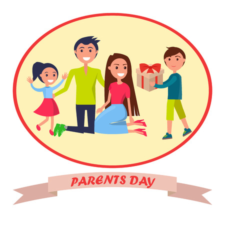 Banner Dedicated to Parents Day Depicting Family Reklamní fotografie - 87470185