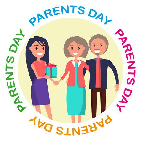 행복한 가족을 보여주는 부모의 날 배너