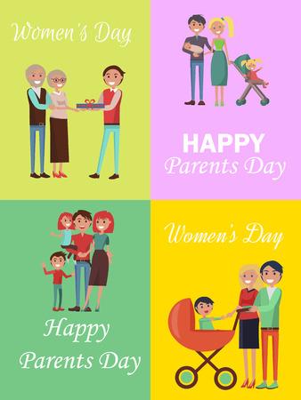 Set of Congratulation Cards for Family Holidays