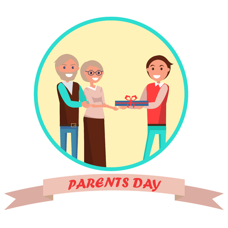 Parents Day Banner with Colorful Inscription Иллюстрация