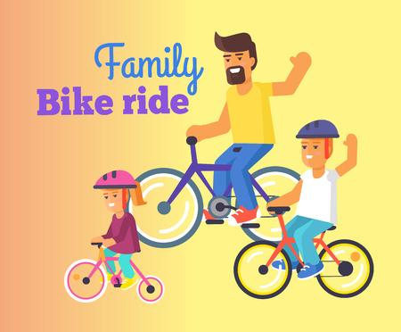 아빠, 작은 딸, 아들과 함께하는 가족 자전거 타기 일러스트