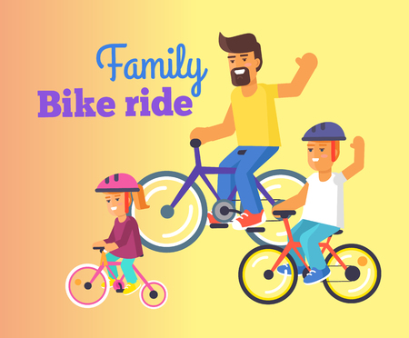 Family Bike Ride with Dad, Little Daughter and Son Ilustração