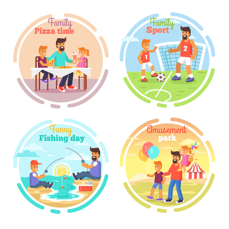 Father s Day Card with Happy Dads and Children Ilustracja