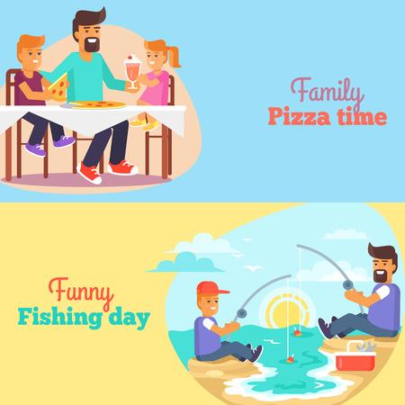 Papá celebrando el día del padre s con niños Póster Ilustración de vector