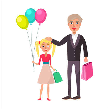 Grandfather and Granddaughter Celebrate Holiday Illustration