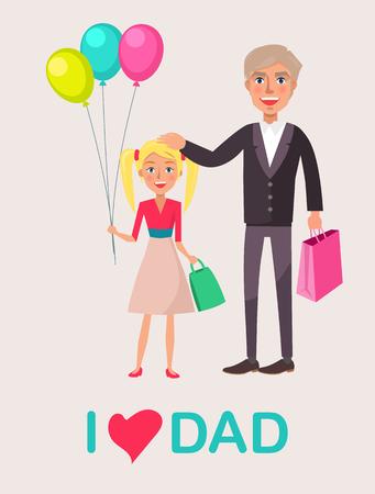 Vader en blonde dochter Vier papa's dag Stock Illustratie