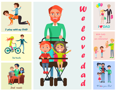 We Love Dad Vector Poster with Children s Wishes