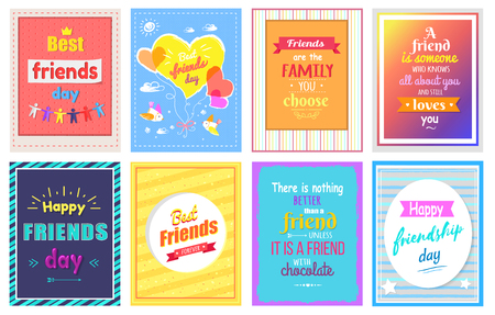 Happy Friendship Day Greeting Cards Colorful Set Illustration