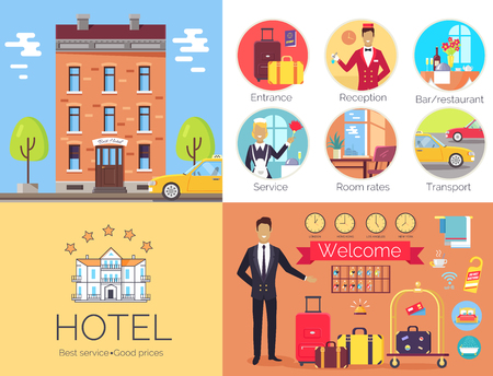 Hotel Working Indoor and Outdoor Poster with Label Ilustrace