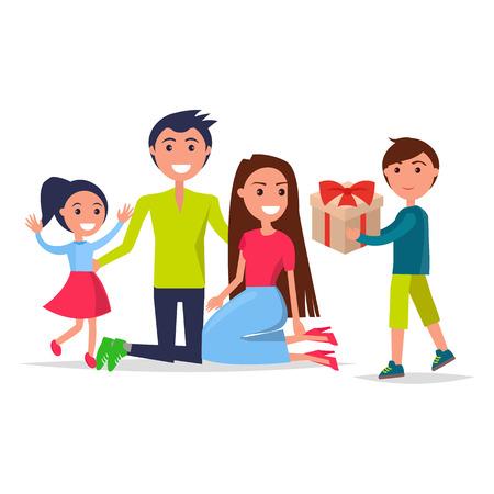 Eltern-Tagesplakat, das lächelnde Familie darstellt Standard-Bild - 87930229