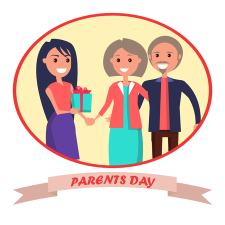 Parents Day Banner Showing Happy Family