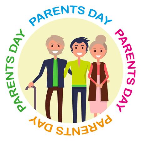 서클 비문이있는 부모의 날 포스터
