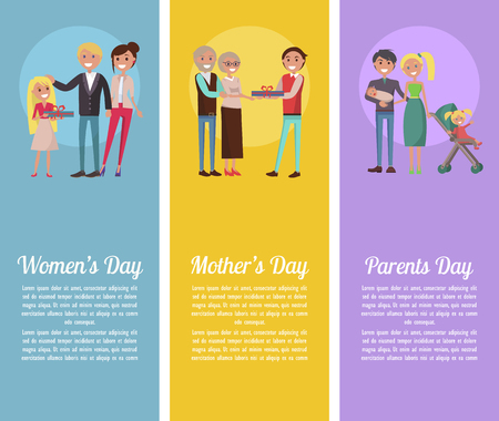 Poster Devoted to Woman s, Mother s, Parents Days Illustration